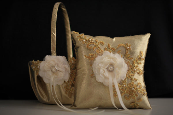 Gold Wedding Pillows \ Gold Wedding Baskets with Lace \ Gold Lace Bearer Pillow \ Lace Wedding Basket \ Gold Flower Girl Basket Pillow Set