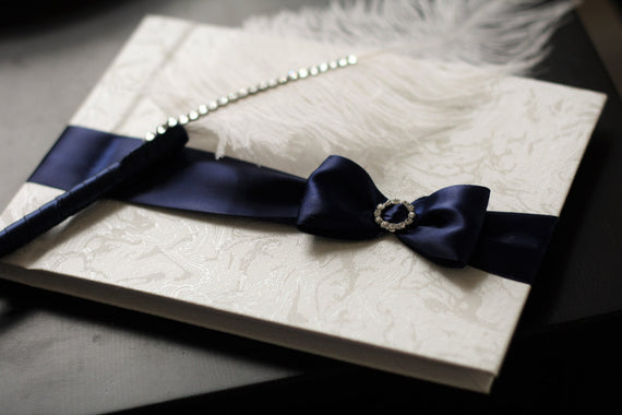 Navy Wedding Guest Book + Ostrich Feather Pen \ Navy Sign in Book with Pen \ Baby Shower Book \ Navy Guest book with pen \ Navy Wishes book