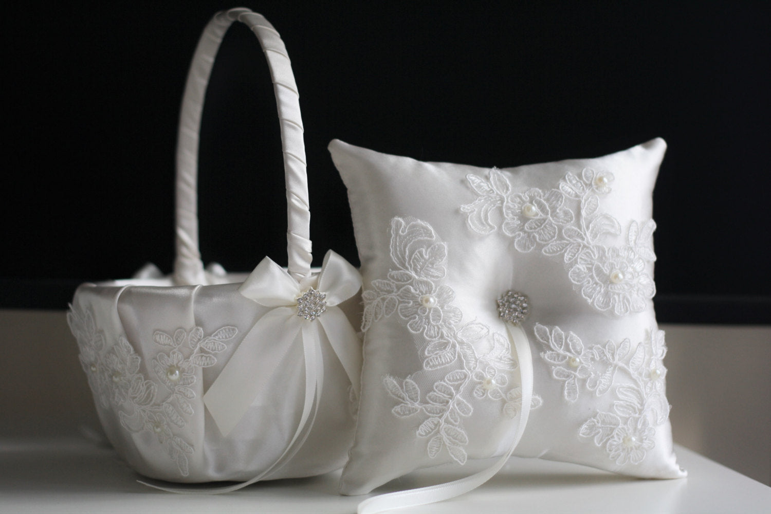 White Flower Girl Basket And Ring Bearer Pillow Wedding Set Alex