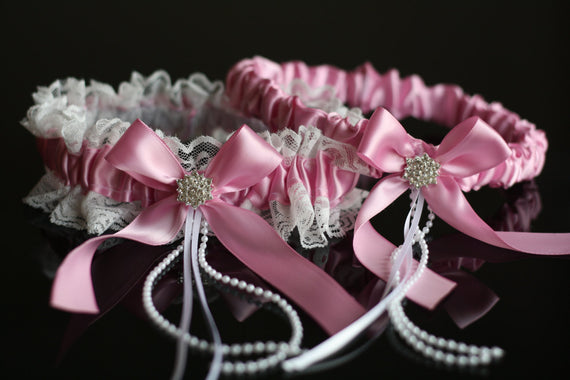 Dusty Pink Bridal Garter Set \ Pink Wedding Garter Set \ Pink Toss Garter \ Pink Keepsake Garter \ Lace Wedding Garters \ Pink Prom Garters