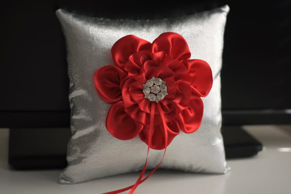 Silver Ring Bearer Pillow \ Red Flower Girl Basket \ Silver Wedding Basket \ Silver Red Wedding Pillow basket Set \ Silver ring holder