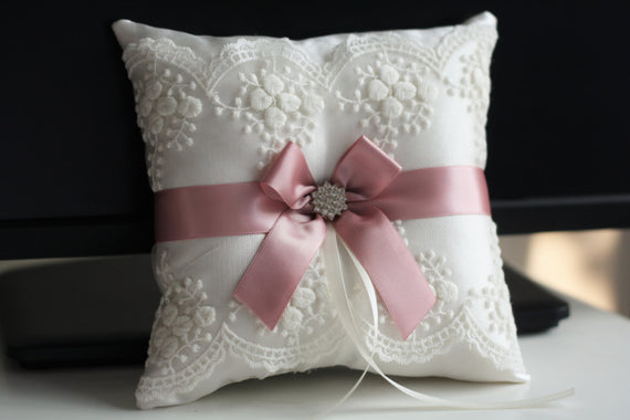 Mauve Ring Bearer Pillow \ Pink ring holder, Mauve Ring Pillow, Gusty Rose Wedding Pillow, Pink Wedding Pillow Basket Set, Dusty Rose Bearer