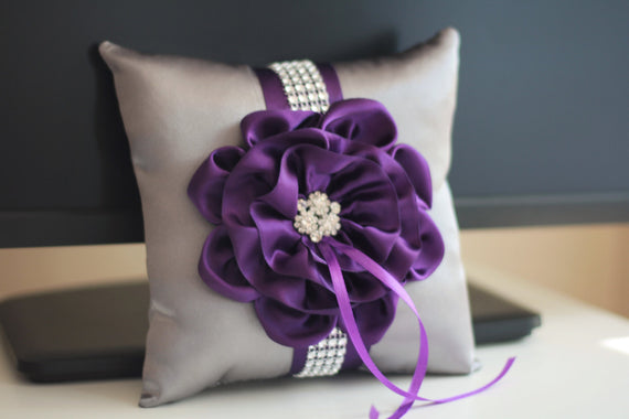 Plum Ring Bearer Pillow + Gray Flower girl Basket \ Plum Wedding Pillow + Plum Wedding Basket \ Gray pillow basket set \ Plum ring holder