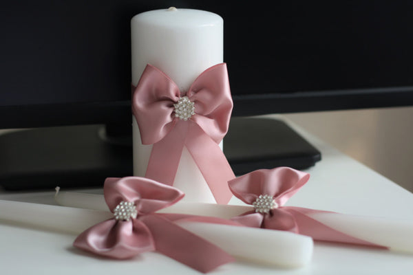 Dusty Rose Unity Candles, Pillar and Stick Wedding Candle, Handmade Bow Unity Candle,  Candles with Ribbon Bow and Brooch