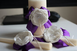 Ivory Plum Unity Candles, Ivory Pillar and Stick Wedding Candle, Egg Plant Handmade Bow Unity Candle, Ribbon Bow, flower + brooch