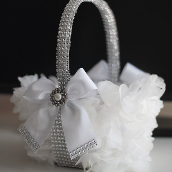 White Flower Girl Basket \ White Wedding Basket \ Silver white wedding petals basket \ Silver Brooch Basket \ Wedding Ceremony Basket