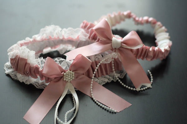 Bridal Garter Set \ Mauve Wedding Garter Set \ Dusty Rose garter \ pink Toss Garter + Keepsake Garter \ Lace Bridal Garters, Prom Garter