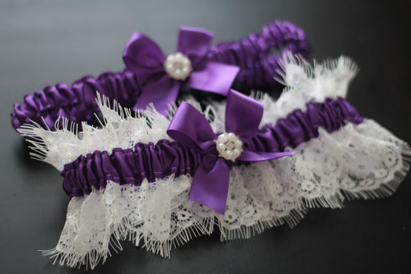 Purple Bridal Garter Set / Lace Wedding Garter Set / Purple Toss Garter / Lace Keepsake Garter / Lace Bridal Garters / Purple Prom Garter