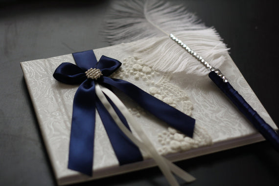 Navy Blue Wedding Guest Book and Pen + Flower Girl Basket + Ring Bearer Pillow + Bridal Garter Set, Sign in Book Ostrich feather Pen