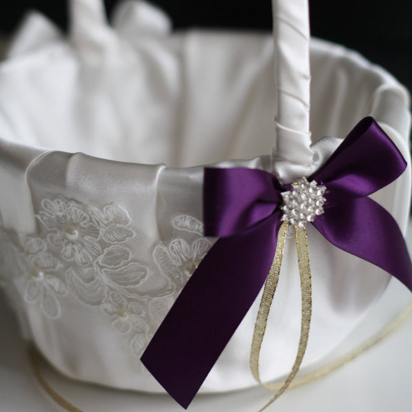 Plum Flower Girl Basket \ Lace Wedding Basket \ Ivory Plum Wedding \ Plum Wedding Basket \ Ivory Plum Basket \ Wedding Ceremony Basket