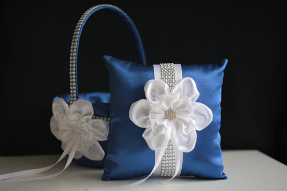 Royal Ring Bearer Pillow \ Blue Flower Girl Basket \ Royal Blue Wedding Pillow Basket Set \ White Blue Basket \ White Blue Bearer Pillow
