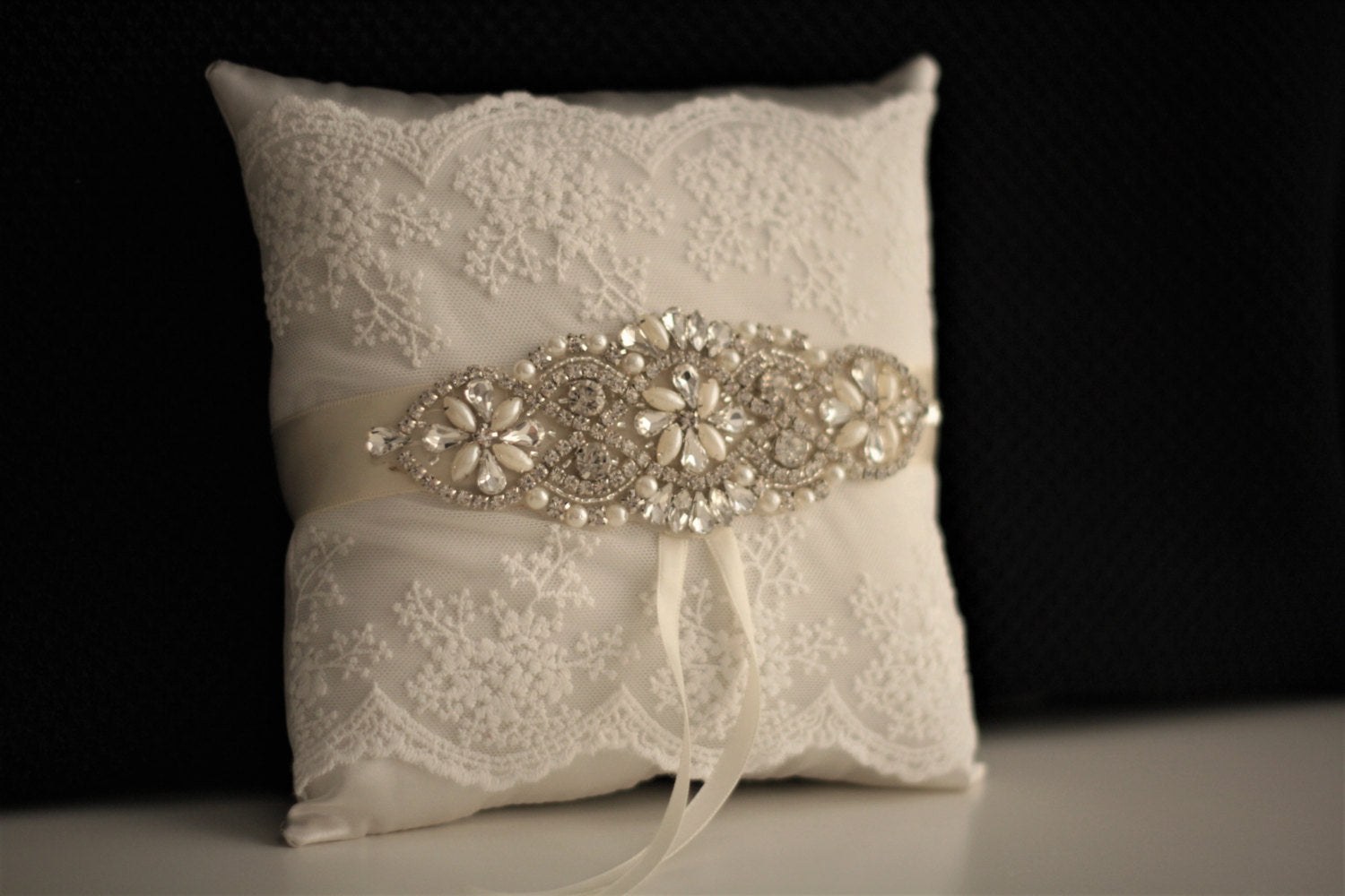 white silk ring online pillow products pleated bearer collections