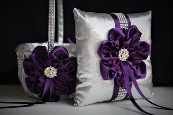 Plum Wedding Basket + Plum Ring Bearer Pillow \ Silver Flower Girl Basket + Silver Wedding Pillow \ Silver Plum Wedding Pillow basket Set