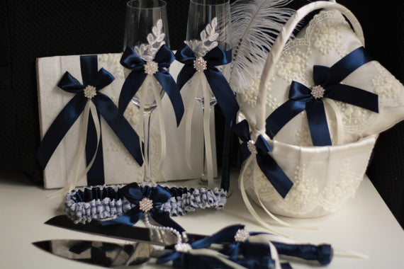 Navy Blue Wedding Basket + Navy Bearer Pillows + Guest Book with Pen + Navy Bridal Garter Set + Champagne glasses + Navy Cake server Set