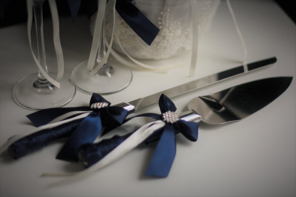 Navy Cake Server Set / Navy blue Wedding Cake Cutting Set / Blue Cake Serving set / Wedding cake knife and Server \ Navy Wedding knife set