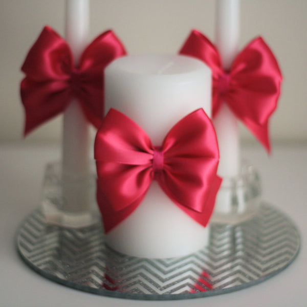 Fuchsia Unity Candle / Pink Pillar Candle / Pink Stick Candles, Pink Unity Candle Pink wedding candles Candles for wedding Ceremony Candles