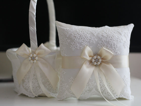 Ivory Wedding Basket \ Lace Wedding Pillow \ Cream Flower Girl Basket \ Ivory Ring bearer Pillow \ Beige Wedding Pillow Basket Set