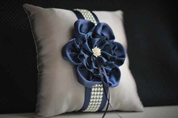 Gray Navy Bearer Pillow \ Navy ring cushion \ Navy Wedding Pillow \ Gray Navy Wedding Ring Holder \ Grey Navy Pillow \ Pillow for rings