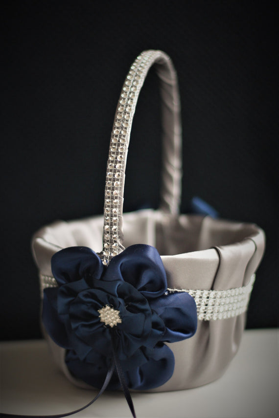 Flower Girl Basket Navy Wedding Basket Navy Gray Wedding Basket Gray Flower Girl Navy Basket Pillow Set Navy Petal Basket Ring Bearer Pillow