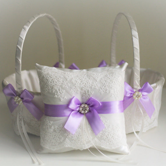 Violet Wedding Bearer Pillow \ Violet Flower Girl Basket \ Wedding Ring Holder \ Lace Wedding Basket \ Purple Wedding Basket Pillow Set