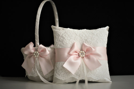 Ring Bearer Pillow / Blush Ring Pillow / Pink Wedding Pillow / Flower Girl Basket / Pink Wedding Basket / Flower Girl Baskets, proposal