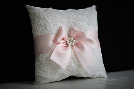 Blush Pink Bearer Pillows + Flower Girl Basket \ Blush Pink Wedding Pillow Basket set \ Lace wedding basket \ Pink Lace Bearer pillow