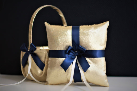 Navy Gold Wedding Baskets Ring Bearer Pillows Flower Girl baskets Navy Ring Pillows Gold Navy Baskets Gold Navy Bearer Navy Cushion Pillow
