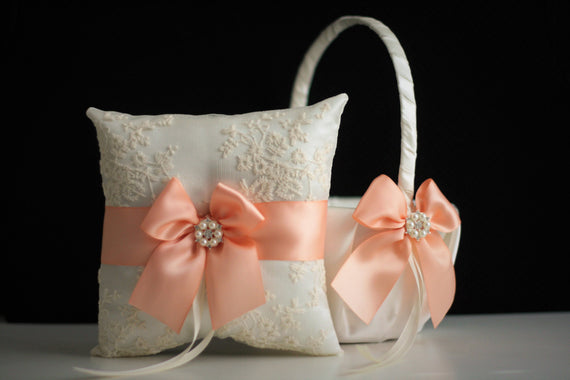 Peach Flower Girl Basket \ Peach Ring bearer Pillow \ Peach Wedding Basket, Peach Wedding Pillow, Peach Lace Bearer, Peach Pillow Basket Set