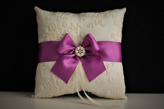 Ivory & Purple Wedding Ring Bearer \ Purple Ring Pillow + Wedding Flower Girl Basket Set \ Ivory Lace Throw Pillow with Wedding basket Set