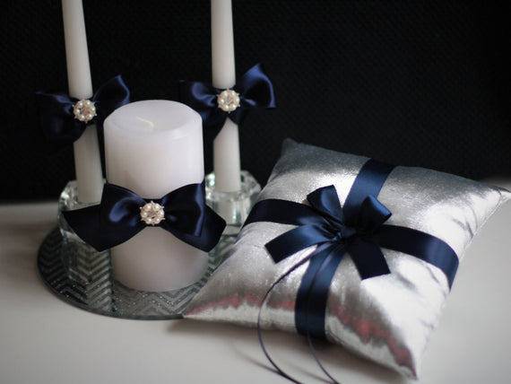Silver Navy Ring Bearer Pillow + Flower Girl Basket + Unity candles \ Silvet Navy Wedding Candles + Wedding Basket & Ring Holder Pillow Set