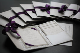Silver Wedding Invitation \ Pocket Fold Invites, Metallic Pocket Fold, Plum invitations, envelope invitation, Personalized Invites RSVP card
