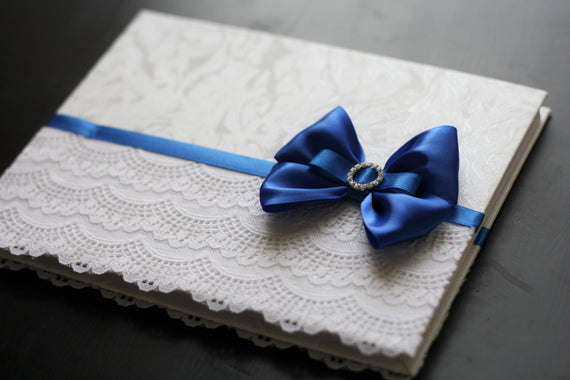 Royal Blue Wedding Guest Book Lace \ Baby Shower Book \ Blue Reception Journal \ Blue Guest Book \ Blue Sign in Book \ Blue Wishes Book