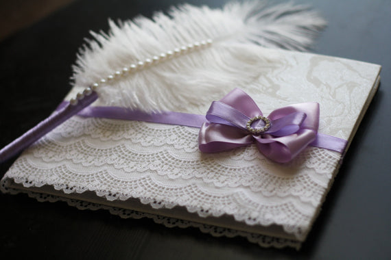 Purple & White SignIn Book and Ostrich Feather Violet Pen \ Wedding Guest Books with Pen Set \ Reception Journal \ Empty pages guest book
