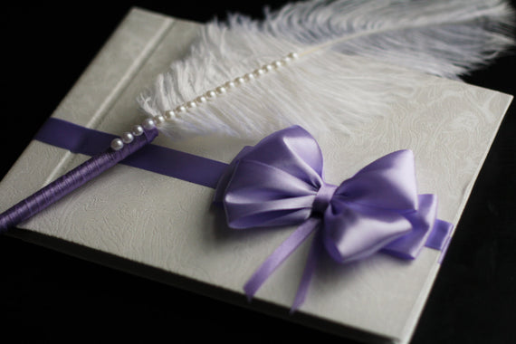 Violet Guest Book / Lavender Book Feather pen /Guest Book with Pen / Violet Wishes book / Violet Memory Book \ Blank Paper Book