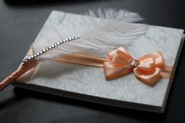 Peach Wedding Guest Book with Ostrich Feather Pen \ Peach Sign in Book with Pen \ Wedding wishes Book, Memory Journal, Baby shower book