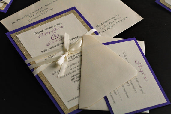 Purple Wedding Invitation \ Purple gold invites \ purple gold wedding invitations \ purple RSVP card \ address printing on envelope
