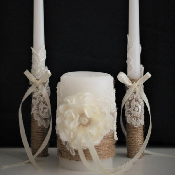 Wedding Unity Candle Set \ Rustic Wedding Candles Set \ Natural Unity Candle \ Rustic Stick candles \ Burlap Pillar Candle \ Burlap Candles