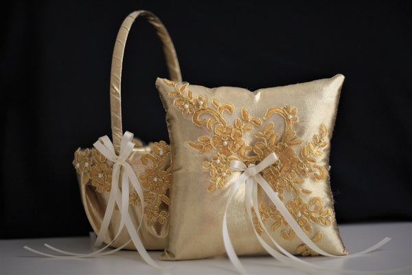 Gold Ring Bearer Pillow + Gold Wedding Basket \ Gold Flower Girl Basket \ Gold Lace bearer pillow \ Lace wedding basket pillow set