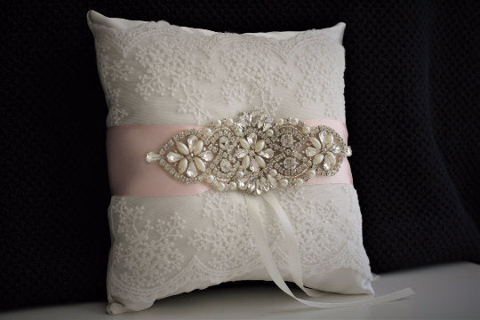 Blush Ring Bearer Pillow, blush Wedding Pillow, Ivory Ring Bearer, Blush Pink Bearer, Blush Pink Pillow, Pink Ring Holder, Lace Ring Bearer