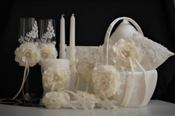Ivory Ring Bearer Pillows, Shabby Chic Bearer, Wedding Accessories, Ivory Flower Girl Baskets, Ivory Guest Book and Pen, Ivory Unity Candle