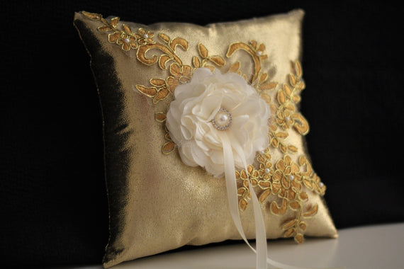 Gold Ring Bearer Pillow / Gold Flower Girl Basket \ Gold Wedding Pillow / Gold Wedding Basket / Gold Lace Bearer Pillow / Bearer with flower
