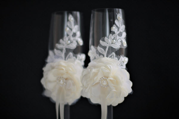 Wedding Glasses for Champagne \ Ivory Champagne Flutes + Flower girl Basket & ivory Ring Bearer Pillow / Lace Ring Bearer + Ivory Guest Book