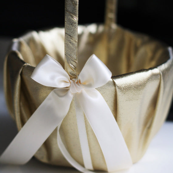 Gold Wedding Basket, Ivory Flower Girl Basket, Flower Girl Gift, Gold Flower Girl, Gatsby Wedding, Basket and Pillow, Basket for Favors