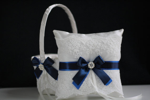 Royal Navy Wedding Basket \ Royal Navy Bearer Pillow \ Blue Flower Girl Basket \ Blue Wedding Pillow Basket Set \ Royal Navy Basket