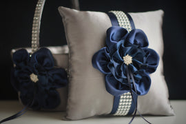 Gray Navy Wedding Basket + Navy Ring Bearer Pillow \ Navy Flower Girl Basket + Gray Navy Bearer \ Navy Wedding Pillow \ Navy Blue Basket
