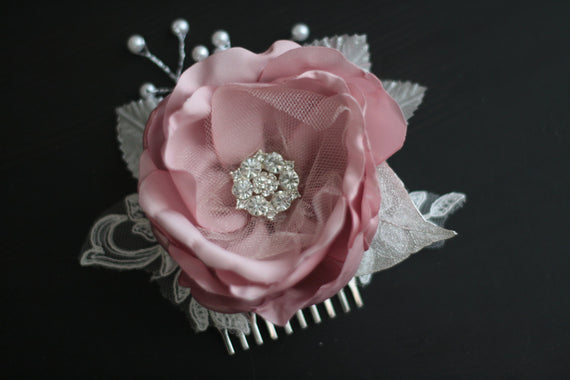Bridal Hair Accessories \ Mauve Bridal Comb \ Pearl Hairpiece \ rose pink comb, hair comb, jewel headpieces, Bridal Headpieces, satin flower