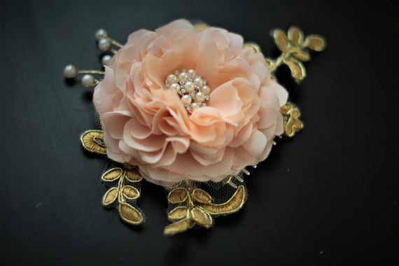 Bridal Hair Flower \ Peach Bridal Comb, Pearl Hairpiece, Peach gold comb, hair comb, Pearl headpieces, Bridal Headpieces, peach satin flower