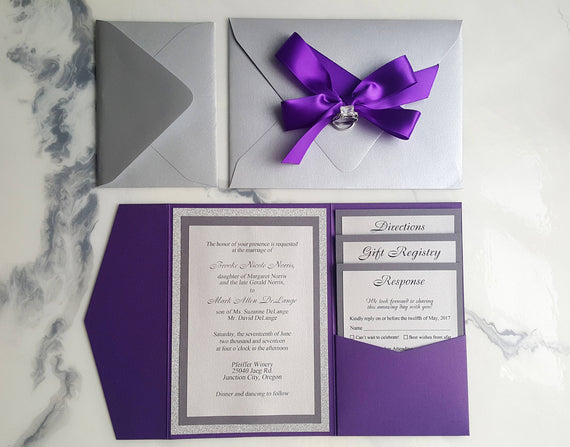 Purple silver wedding invitations metallic pocket fold invites purple silver wedding invitations metallic pocket fold invites pur alex emotions junglespirit Image collections