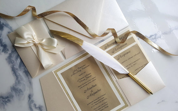 Ivory Gold Wedding Invitations, Ivory Pocket Fold Invites, Ivory Invitations, RSVP card, Insert cards, Glitter Gold invites, Gold invitation