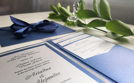 Navy Silver Wedding Invitations / Blue Pocket Fold Invites / Navy Invitations / Navy blue invites / Insert cards / Glitter silver invites